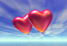 Two heart-shaped baloons Stock Photography