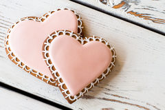 Two heart-shaped biscuits. Stock Image