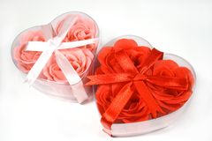 Two heart-shaped boxes Stock Photo