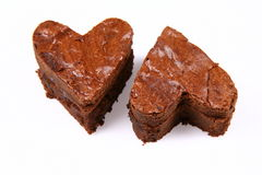 Two heart shaped brownies Stock Image
