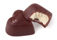 Two heart-shaped candies Royalty Free Stock Image