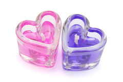 Two heart shaped candles Stock Photography
