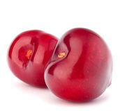 Two heart shaped cherry berries Stock Photography