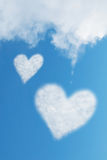 Two heart shaped clouds Royalty Free Stock Photography