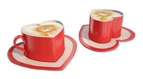 Two heart-shaped coffee cups. Two red heart-shaped coffee cups with saucers Royalty Free Stock Image