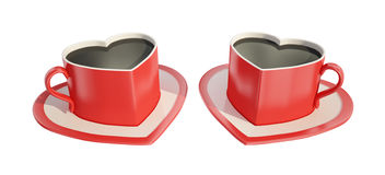 Two heart-shaped coffee cups. Two symmetric red heart-shaped coffee cups with saucers Royalty Free Stock Photography