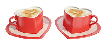 Two heart-shaped coffee cups. Two symmetrical red heart-shaped coffee cups with saucers Royalty Free Stock Photos