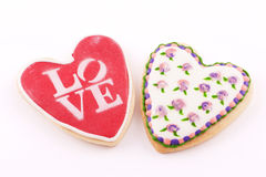 Two heart-shaped cookie Stock Photo
