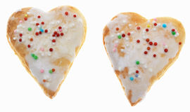 Two Heart-Shaped Cookies. Isolated against a white background Stock Images