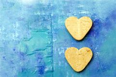 Two Heart Shaped Cookies Royalty Free Stock Photos