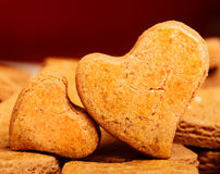 Two heart shaped cookies Stock Image