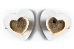 Two Heart Shaped Cups Of Black Coffee Royalty Free Stock Photography