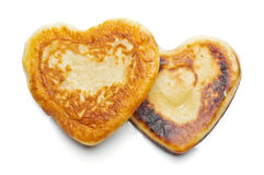 Two heart shaped flapjacks isolated Royalty Free Stock Photos