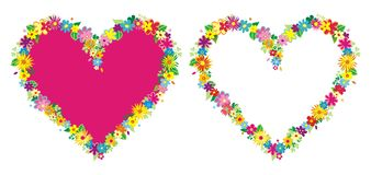 Two heart shaped frame with flowers. Vector illustration Stock Photography