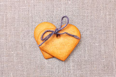 Two heart shaped gingerbread cookies Royalty Free Stock Photo