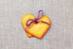 Two heart shaped gingerbread cookies Royalty Free Stock Images
