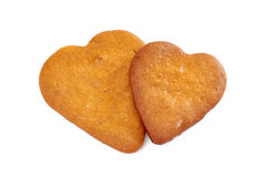 Two heart shaped gingerbread cookies on white Royalty Free Stock Image