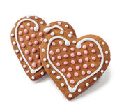 Two heart shaped gingergreads  Royalty Free Stock Images