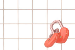 Two heart-shaped lock hanging on the metal stand,3D illustration Royalty Free Stock Photography