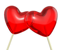 Two heart shaped lollipops, closeup Royalty Free Stock Photo