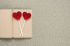 Two heart-shaped lollipops on an old diary Royalty Free Stock Image