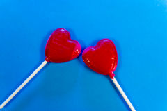Two Heart-Shaped Lollipops Royalty Free Stock Photography