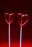 Two heart shaped lollipops for Valentine stock photo