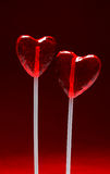 Two heart shaped lollipops for Valentine royalty free stock photos
