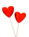Two heart shaped lollipops for Valentine Royalty Free Stock Photo