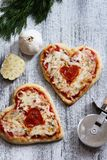 Two Heart Shaped Pizza for Valentine's Day Stock Images