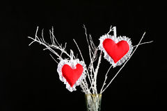 Two heart shaped red pin cushions on a tree branch Stock Image