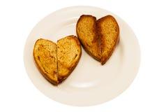 Two heart-shaped toast Stock Photo