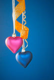 Two heart shaped toys Royalty Free Stock Photo