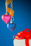 Two heart shaped toys Royalty Free Stock Photos