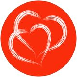 Two heart shapes with brush painting on red circle background Stock Photo