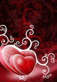 Two heart shapes on red background Royalty Free Stock Images