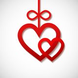 Two heart sliced from red paper Royalty Free Stock Photo