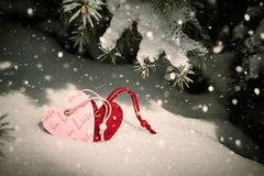 Two heart at snow on fir tree, winter landscape valentine concept Royalty Free Stock Photo