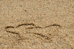 Two Heart Symbols in Sand Royalty Free Stock Photo