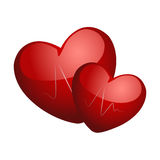 Two hearts. On a white background Stock Image