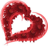 Two Hearts. A red flower heart surrounded by red hearts Stock Photo
