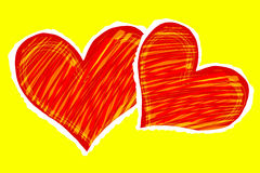 Two hearts. Color sketch of the two red hearts on the yellow background Stock Photography
