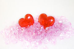 Two hearts. Crystal, on a white background, heart Stock Photography