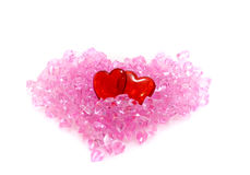 Two hearts. Crystal, on a white background, heart Royalty Free Stock Images