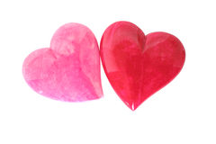 Two Hearts. Close-up of two hearts isolated on white background Royalty Free Stock Photos