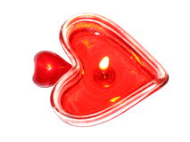 Two hearts. Two burning heart. Burning candle in the form of the heart Royalty Free Stock Photography