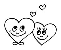 Two hearts. Valentine or wedding hearts. Hand drawn illustration vector illustration