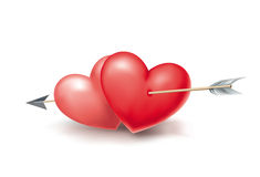 Two hearts. Pierced by an arrow Royalty Free Stock Photo