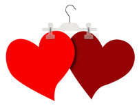 Two hearts. With hanger and isolated Stock Image