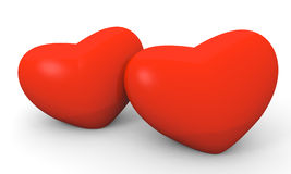 Two hearts. Two Valentine's Day hearts next to each other on white background Royalty Free Stock Image